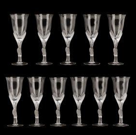 Set Of 11 Kissing Snow Dove Water Goblets
