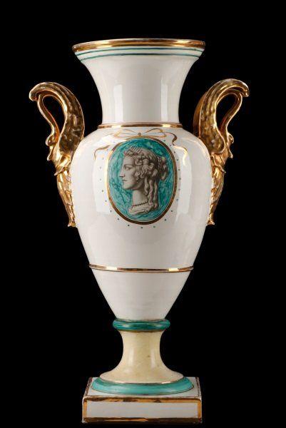 Large Urn With Gilt Swan Handles, Ugo Zaccagnini