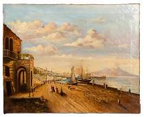 Italian Gulf of Naples Painting 19th C