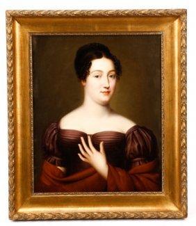 Continental Portrait Of Woman In Purple, 19th C.