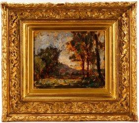 Marcel Gibon, Environs De Montlueul, Oil On Paper