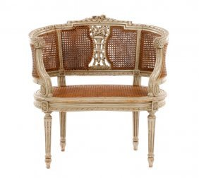 Louis Xvi Gray Caned Bergere Chair, 19th C