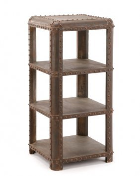 Industrial Style Polychrome Wood Tiered Shelf
