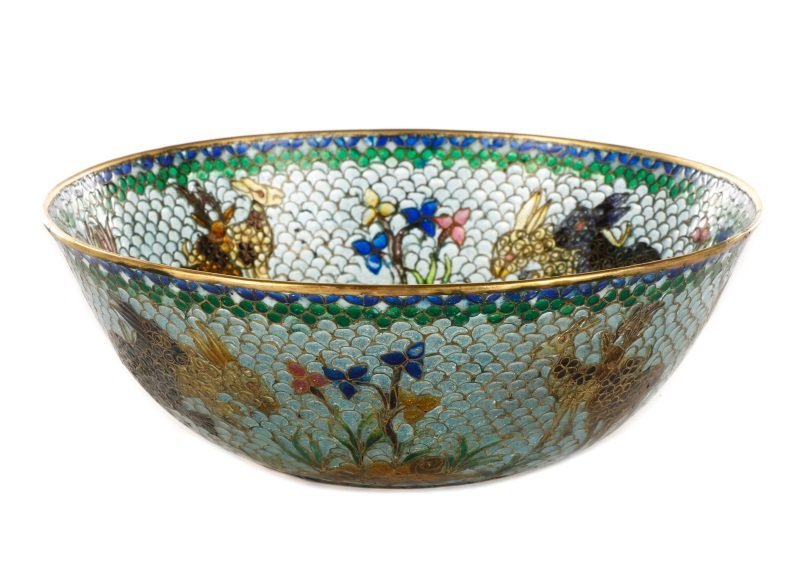 Chinese Plique a Jour Bowl with Rabbits & Deer