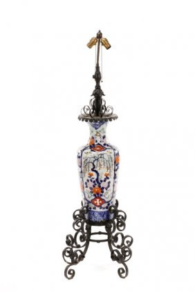 Iron Mounted Chinese Porcelain Vase Floor Lamp