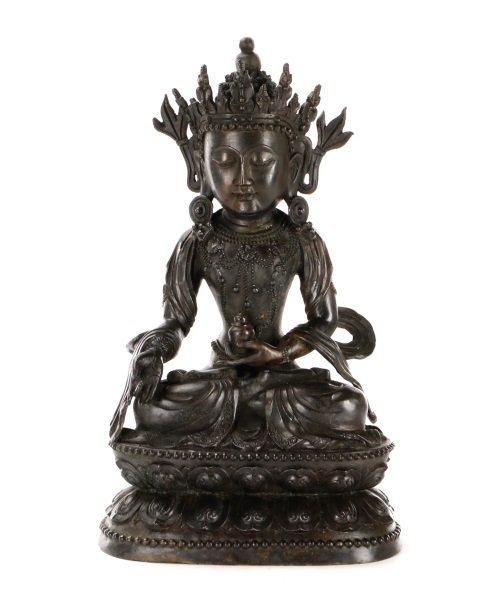 Sino-Tibetan Guanyin Bronze Figural Sculpture