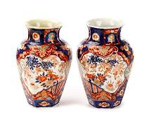 Pair of Japanese Imari Porcelain Vases, 19th C.