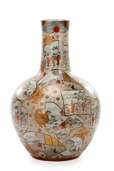 Large Macau Porcelain Bottle Floor Vase, 20th C.