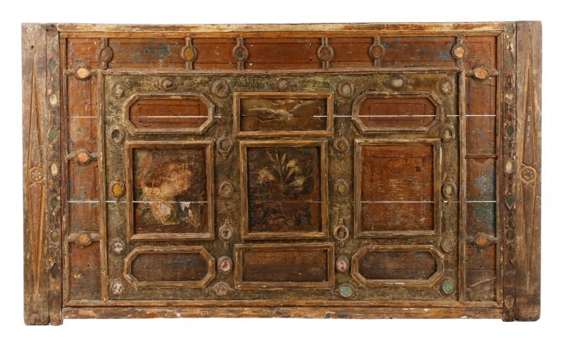 Carved, Polychrome & Glass Accented Panel, 18th C.