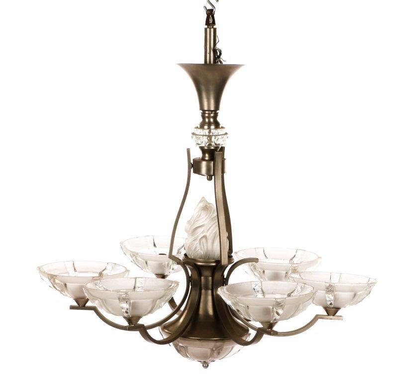Art Deco Style Brushed Aluminum 6 Light Chandelier