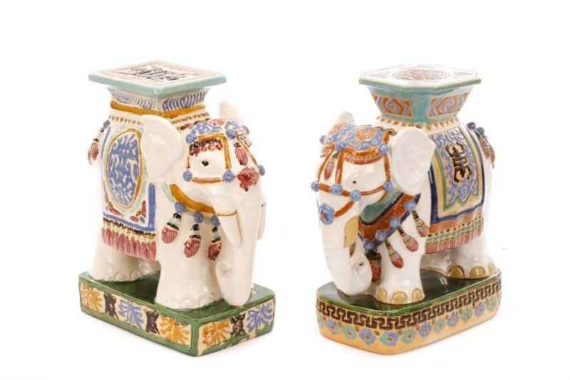 Group Of 2 Ceramic Majolica Elephant Garden Seats