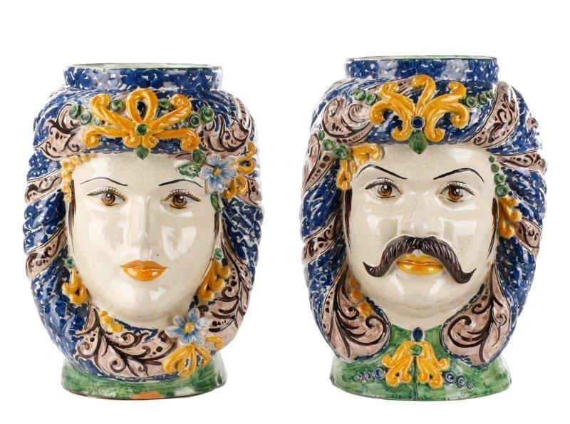 Italian His & Hers Glazed Terracotta Jardinieres