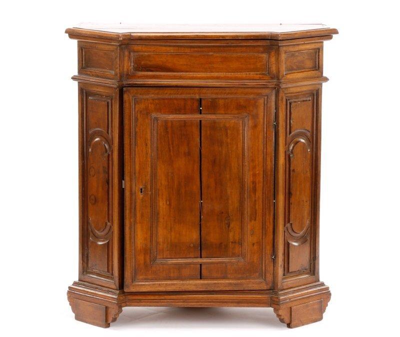 Italian Walnut Lift-Top Cabinet or Console, 19th C