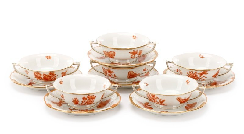 Herend Fortuna Rust Pattern Footed Soup Set