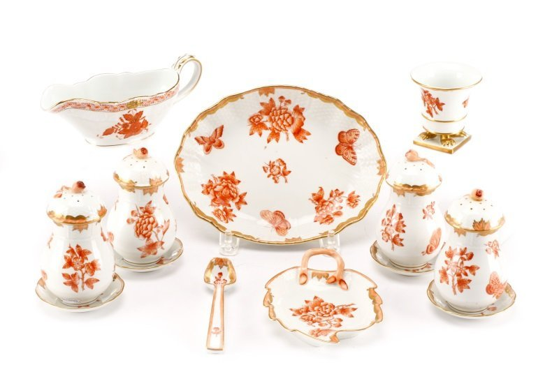 Herend China Fortuna Rust 13 Serving Pieces