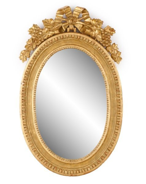 Diminutive Oval Carved Giltwood Mirror, 19th C