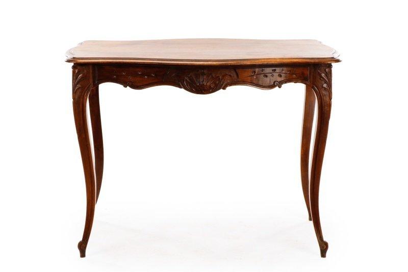 French Louis XV Style Walnut Table w/Single Drawer