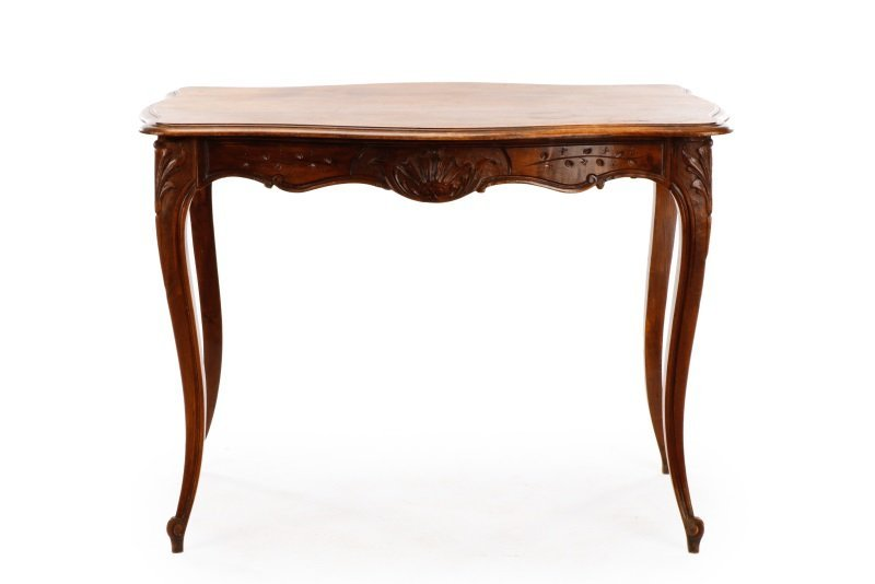 French Louis XV Style Walnut Table w/Single Drawer