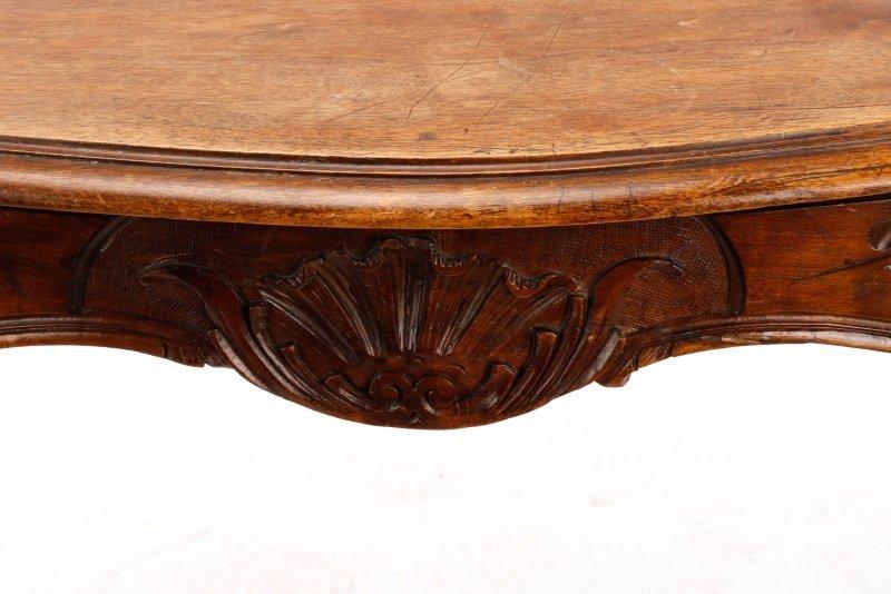 French Louis XV Style Walnut Table w/Single Drawer - 4
