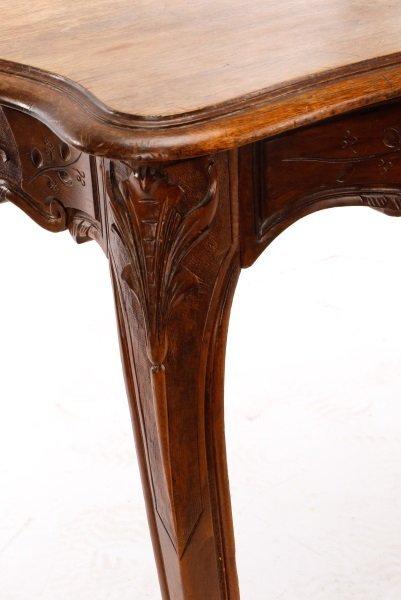 French Louis XV Style Walnut Table w/Single Drawer - 5