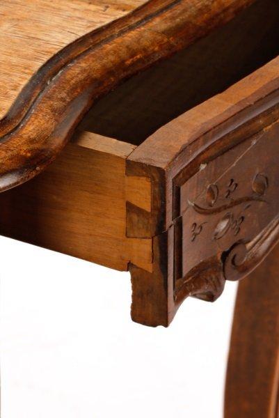 French Louis XV Style Walnut Table w/Single Drawer - 6