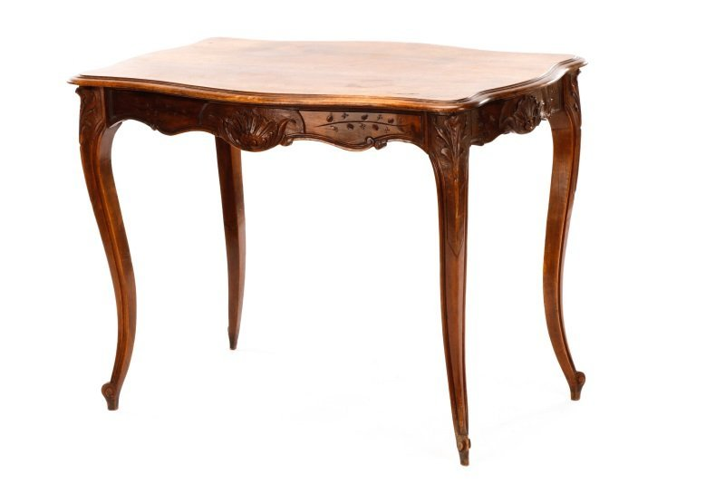 French Louis XV Style Walnut Table w/Single Drawer - 8