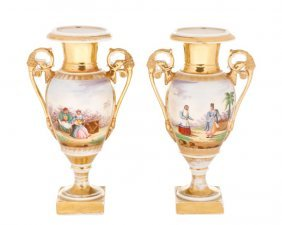 Pair Of Old Paris Figural & Gilt Porcelain Urns