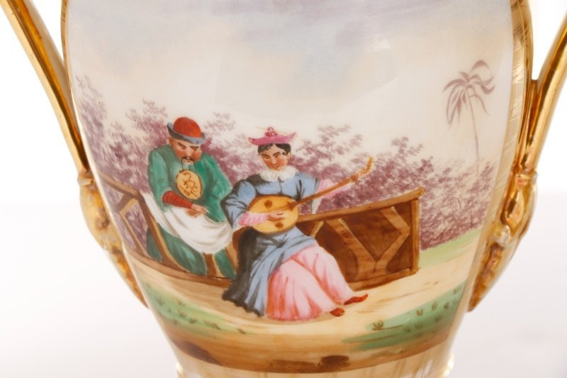 Pair of Old Paris Figural & Gilt Porcelain Urns - 2