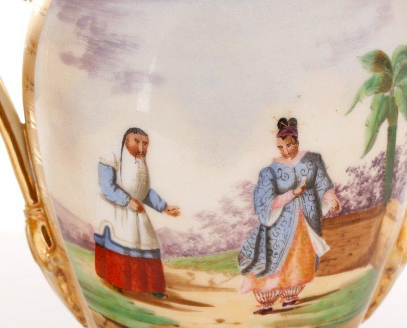 Pair of Old Paris Figural & Gilt Porcelain Urns - 3