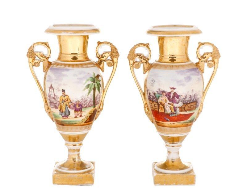 Pair of Old Paris Figural & Gilt Porcelain Urns - 5