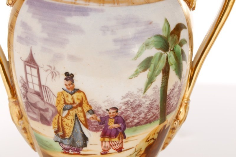 Pair of Old Paris Figural & Gilt Porcelain Urns - 8