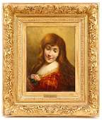 Angelo Asti Portrait of A Lady with Roses Signed