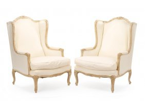 Pair, Louis Xv Style Winged Confessional Bergeres