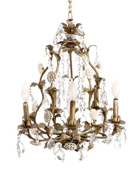 Iron, Crystal and Porcelain Six Light Chandelier