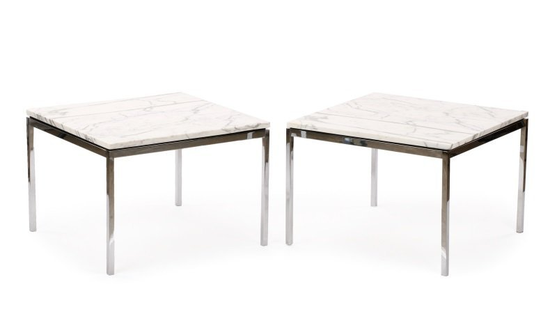 Pair of Knoll Chrome & Marble Side Tables