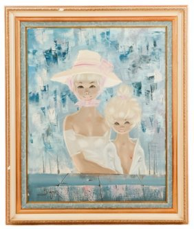 Igor Pantuhoff, Young Girls In Blues, Signed