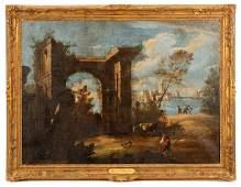 School of Marco Ricci, Capriccio Landscape, Oil