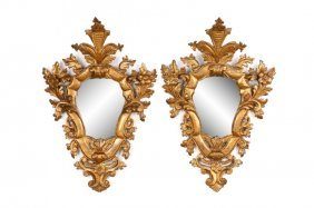 Pair Of Italian Carved & Giltwood Wall Mirrors