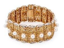 Italian 18k Gold Pearl & Diamond Bracelet