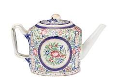 Famille Rose Porcelain Lidded DrumForm Teapot