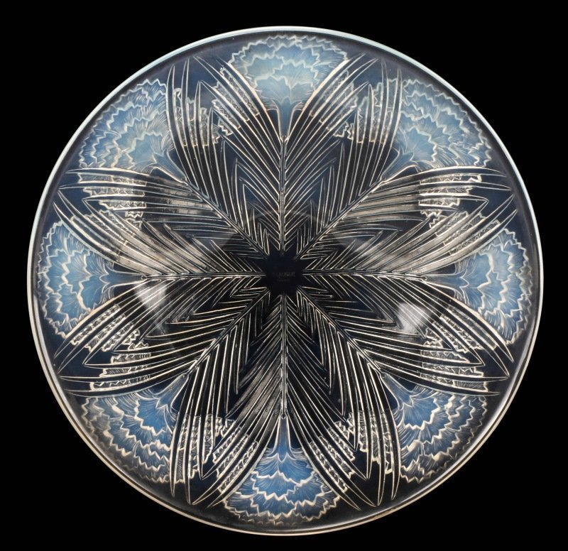 René Lalique Oeillets Opalescent Coupe, Marked