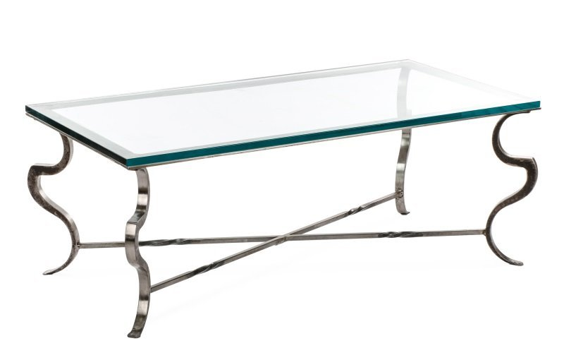Modernist Style Iron Coffee Table with Glass Top
