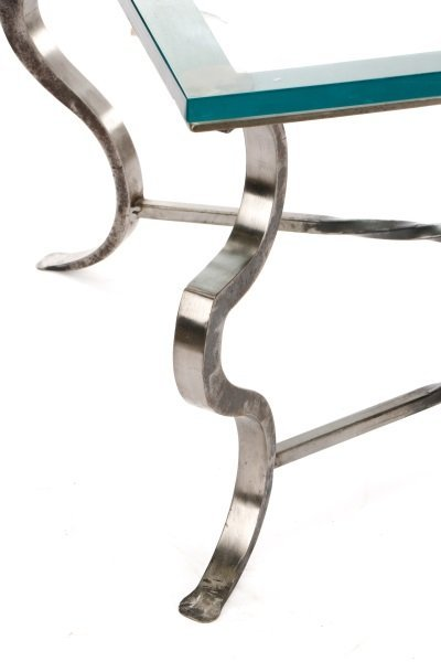 Modernist Style Iron Coffee Table with Glass Top - 2