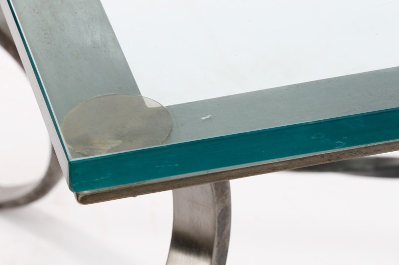 Modernist Style Iron Coffee Table with Glass Top - 5