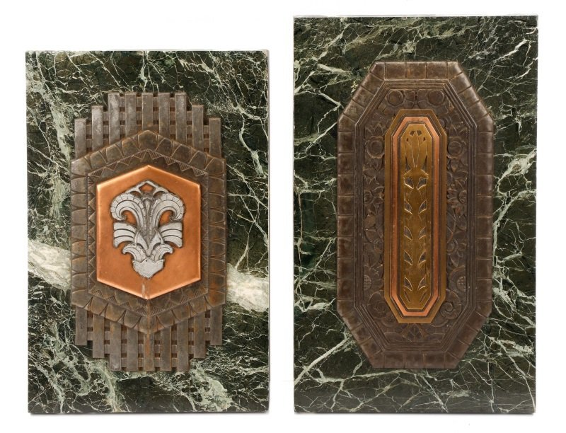 Group of 2 Art Deco Mixed Metal on Marble Plaques
