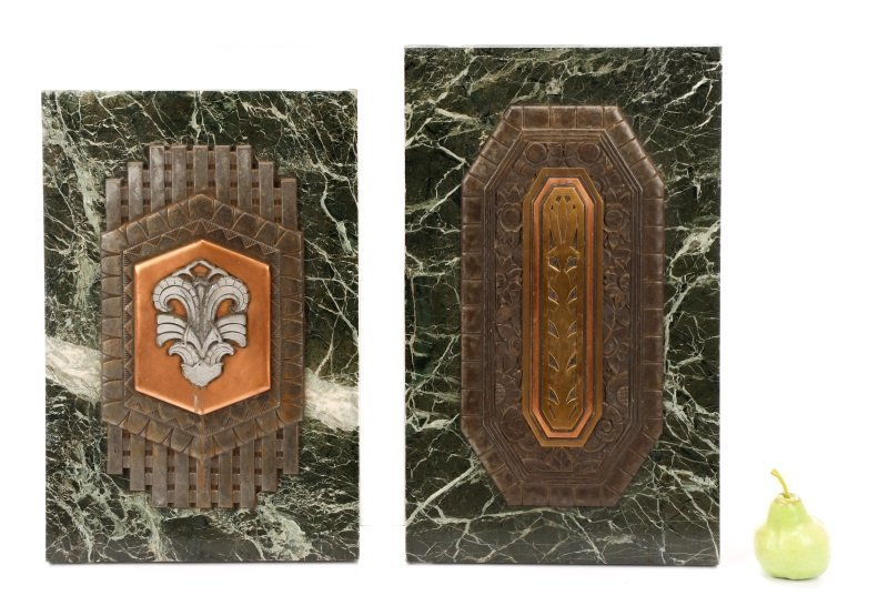 Group of 2 Art Deco Mixed Metal on Marble Plaques - 9