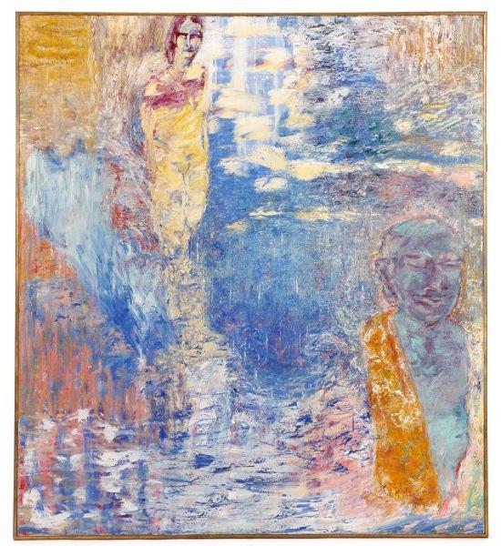 """Elizabeth Cain, """"Bathing With Buddha"""", Oil, 1985"""