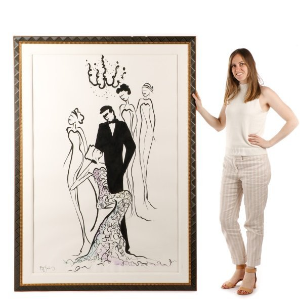 Large Contemporary Watercolor, Gathered for a Gala - 10