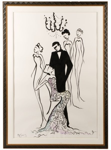 Large Contemporary Watercolor, Gathered for a Gala