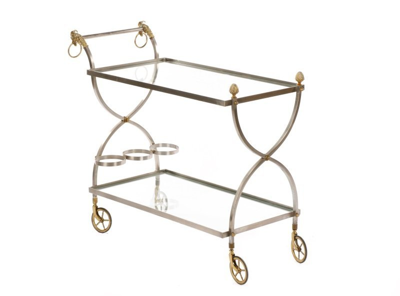 Mid Century Modern Two-Tier Bar Cart